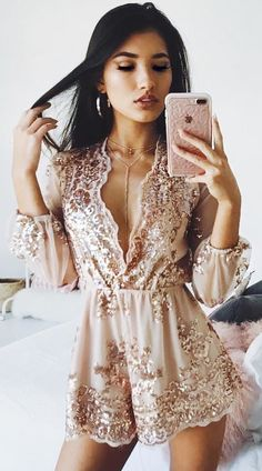 #winter #outfits brown long-sleeved floral studded plunging neckline dress