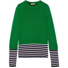 MICHAEL KORS COLLECTION Layered striped jersey and cotton and... (1.670 RON) ❤ liked on Polyvore featuring tops, sweaters, green sweater, striped top, michael kors sweaters, jersey top and michael kors tops