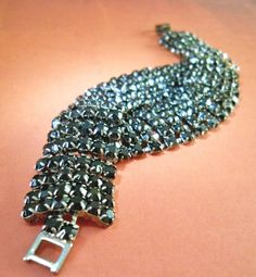 Black Rhinestone Bracelet Vintage Double Twist by RenaissanceFair