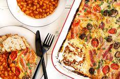 skinnymixer's English Breakfast Bake - Thermomix English Breakfast, Breakfast Bake, Breakfast Recipes, Dinner Recipes, Sweet Potato Dip, Mashed Sweet Potatoes, Baked Beans, Creamed Mushrooms, Dinner Menu