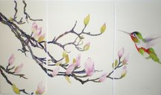 japanese watercolor | Hummingbird and Japanese Magnolia Mini- Triptych
