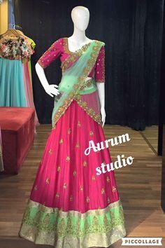 Pinterest@BHAVANI Lehenga Crop Top, Half Saree Lehenga, Lehnga Dress, Lehenga Gown, Lehenga Style, Saree Blouse, Indian Bridal Lehenga, Indian Sarees, Bridal Sarees