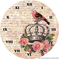 Bird on crown clock Victorian Clocks, Vintage Clocks, Shabby Chic Clock, Paper Clock, Handmade Clocks, Images Vintage, Face Images, Decoupage Paper, Decoupage Ideas