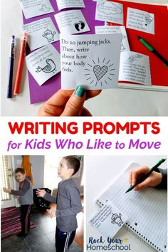 Got kids who like to move? Make writing time fun with these free writing prompts! Printable cards with awesome ideas for combining movement exercises with writing. Perfect for homeschool, classroom, & family fun. Fun Writing Activities, Writing Curriculum, Writing Prompts For Kids, Picture Writing Prompts, Writing Lessons, Kids Writing, Teaching Writing, Writing A Book, Teaching Strategies