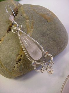 Rose quartz gemstone and silver earrings - wire wrapped jewelry