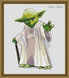 "Yoda character of the cult epic fantasy Saga ""Star wars"" Counted Cross Stitch Pattern / Instant Download Epattern PDF File"