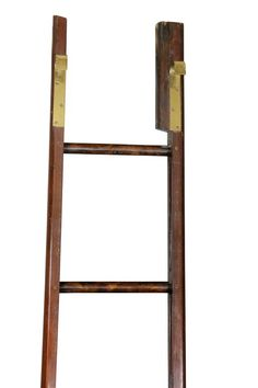 For Sale on - With brass hooks on top and brass fittings. Old Bookshelves, Stain On Pine, Library Ladder, Brass Hook, Brass Fittings, Dog Houses, Home Accents, Great Rooms, Ladder Decor