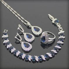 Blue Created Sapphire White Topaz 925 Sterling Silver Jewelry Sets Bracelets/Earrings/Pendant/Necklace/Rings For Women Free Box