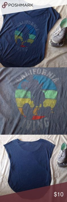 "Vintage Disney Hollister tee Faded blue Hollister tee with vintage graphic featuring an outline of Mickey Mouse, ""California Living"", and bright blue, green, yellow, orange, and red striped circle background. Like new condition. Hollister Tops Tees - Short Sleeve"