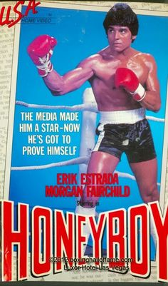 """Remember Erik Estrada from CHIPS? Besides """"looking pretty"""" he was pretty good as a boxer in """"Honeyboy."""" Of course, he was no match for Morgan Fairchild who was the female lead.  boxinghalloffame.com"""
