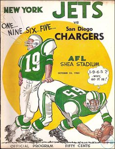 NFL Game Program: New York Jets vs. San Diego Chargers (October 23, 1965)