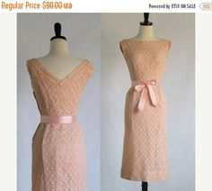 1960s Lace Salmon Pink Cocktail Dress $72 by SassySisterVintage