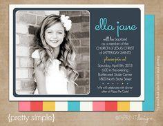 "LDS Baptism Photo Invitation (Digital or Printed)- ""Pretty Simple"""