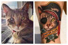 Pirate cat tattoo by Becca Gene-Bacon at Hand of Glory Tattoo in Brooklyn #piratecat #handofglorytattoo #cattat