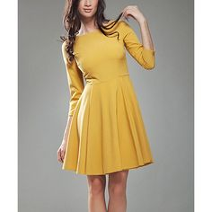 NIFE Mustard Fit & Flare Dress ($37) ❤ liked on Polyvore featuring dresses, boat neck dress, bateau neckline dress, fit and flare dress, long length dresses and boat neck long dress