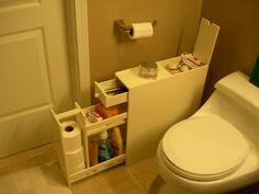 Slim Bathroom Floor Toiletry Storage Cabinet in White | eBay