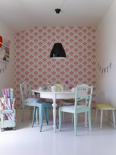 Pastel Pretty Style Book by decor8, via Flickr-how about a feature wall behind your new table like this C?
