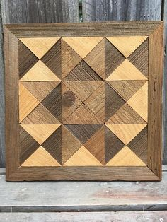 Ohio Star quilt block recycled barn wood upcycle wood