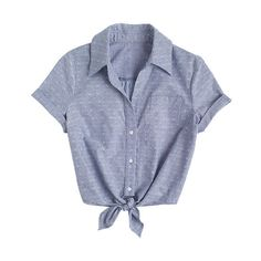 Dobby Chambray Tie-Front Top (205 MXN) ❤ liked on Polyvore featuring tops, blouses, shirts, t-shirts, shirts & blouses, tie front blouse, shirt tops, button front blouse, short sleeve tops and chambray top