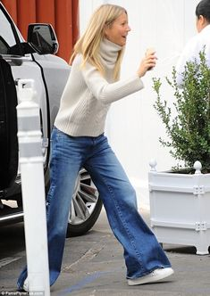 On Saturday, the 44-year-old was seen leaving her holiday store with boyfriend Brad Falchuk. The 44-year-old was later joined by Reese Witherspoon, who arrived with her husband Jim Toth and their son.