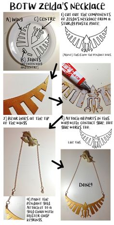 How to make BOTW Zelda's Necklace - by Utterlyorigami  #BOTW #Zelda #Princess Zelda #Plastic #Plasticplate #crafts #cosplay #costuming #plate #glue #costume #gold #paint #chain #keychain #keyrings #lobster #lobsterclasp #clasp #Nintendo #videogames #games #gaming #princess #link #mario #peach