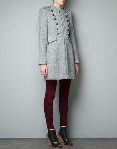 Grey WOOL MILITARY COAT - Coats - Woman - ZARA United States
