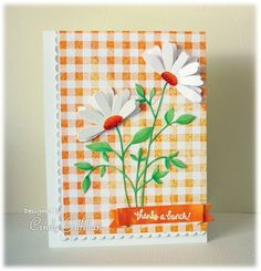 Orange Gingham & Daisies by frenziedstamper - Cards and Paper Crafts at Splitcoaststampers