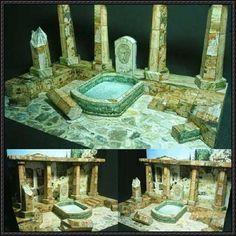 Greek-Roman Ruins Diorama Papercraft Free Template Download - http://www.papercraftsquare.com/greek-roman-ruins-diorama-papercraft-free-template-download.html