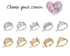 crown ring set princess ring set king and queen by pureemotion