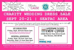 Are you in the Seattle or Tacoma area looking for a wedding dress?  How would you like to save up to 75%!  Join us for a special Wedding Dress Sale to support charity on September 20-21 at the Landmark Event Center in Des Moines, WA!  Brides in both Tacoma and Seattle will have two days to shop among more than 1,000 wedding dresses while our gown tour is in town!