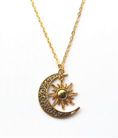 Gold Plated Sun & Moon Necklace - Bounce Deals - 1 - May 12 2019 at Cute Jewelry, Gold Jewelry, Jewelery, Jewelry Accessories, Jewelry Necklaces, Women Jewelry, Diamond Necklaces, Sun And Moon Necklace, Bijoux Design