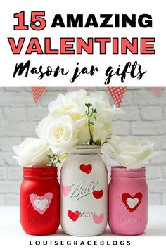 Mason Jar Gifts, Mason Jar Candles, Jar Of Hearts, Craft Images, Jar Crafts, Valentine Decorations, Valentine Crafts, Homemade Gifts, Ribbons