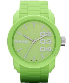 DIESEL Analogue Green Rubber Strap  Τιμή : 99€  http://www.oroloi.gr/product_info.php?products_id=31997