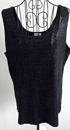 Chicos Travelers Metallic Black Stretch Jersey Tank Top Sleeveless 3/XL 16 #Chicos #Top