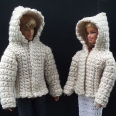 Free crochet pattern for a hooded jacket for Ken and Barbie dolls. The pattern is easy enough for an advanced beginner to master and can be crocheted up in a few hours.