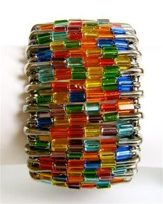 stained-glass-cuff-bracelet Amazing what can be done with a bunch of safety pins!! Love this one!