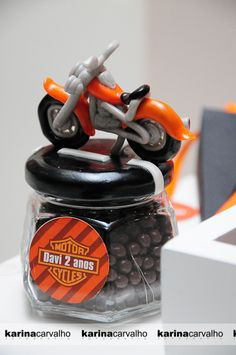 """I would probably use a toy motorcycle on lid and use the """"Guess How Many Jelly Beans"""" in the jar for a game. Motorcycle Birthday Parties, Biker Birthday, Dirt Bike Party, Motorcycle Party, Hubby Birthday, Football Birthday, 4th Birthday Parties, Birthday Ideas, Harley Davidson"""
