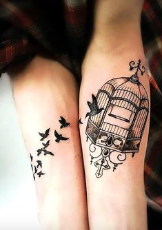 Amazing 30 Freedom Symbol Tattoo Ideas You Need On Your Body A matching tattoo of birds flying into the birdcage on the other arm. Three Birds Tattoo, Small Bird Tattoos, Little Bird Tattoos, Bird Tattoo Back, Black Bird Tattoo, Bird Tattoo Wrist, Freedom Symbol Tattoo, Freedom Tattoos, Bird Tattoo Meaning