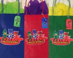 PJ Masks party bags 12 by ScozShop on Etsy Pj Masks Party Favors, Pj Mask Party Decorations, Festa Pj Masks, Party Favor Bags, Pjmask Party, Sleepover Party, Party Ideas, Birthday Bag, 3rd Birthday Parties
