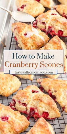 How to make the best bakery style cranberry scones in your own home. With simple ingredients, these scones are quick and easy to make. Topped with a lemon drizzle, these scones are light and flaky. Lemon Cranberry Muffins, Easy Cranberry Scones Recipe, Best Scone Recipe, Fresh Cranberry Recipes, Lemon Scones, Lemon Biscuits, Savory Scones, Breakfast Recipes, Dessert Recipes