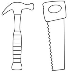 Hammer Saw And Wrench Coloring Pages Use To Make Construction