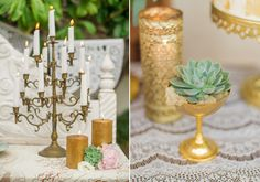 Romantic Hispanic wedding inspiration | Real Weddings and Parties | 100 Layer Cake goblet with flower cacti candles