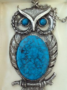 Giant Owl Necklace Silver with Faux Turquoise on Etsy at RetroRosiesVintage