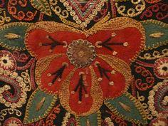 Azerbaijan embroidered coverlet, 19th century, silk, metallic thread