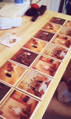 DIY Coasters from pictures on tile