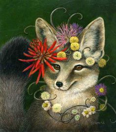 Kit Fox in Coral - Carolyn Schmitz