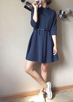 Kup mój przedmiot na #vintedpl http://www.vinted.pl/damska-odziez/krotkie-sukienki/14114349-granatowa-sukienka-z-paskiem-w-groszki-medicine-l