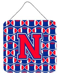 Letter N Football Harvard Crimson and Yale Blue Wall or Door Hanging Prints CJ1076-NDS66