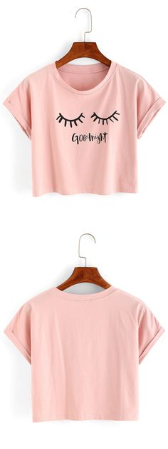 Cute summer tops-Eyelash Print Crop T-shirt. Organza material and loose crop line. US$6.99 now.