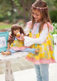 Matching girl and doll dresses! Clockwork Tunic $28 Doll tunic is $10 Please choose georgiajenj as your rep at checkout!! #shrimpandgritskids #serendipity #dolldress #dollmatchingdresses